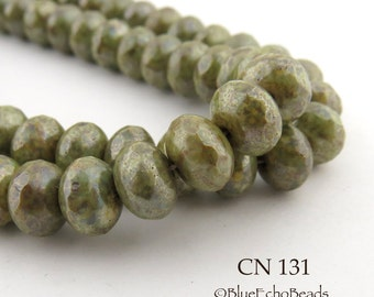 Olive Green Picasso Czech Glass Faceted Rondelle Beads 9mm (CN 131) 12pcs BlueEchoBeads