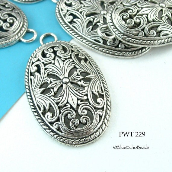 46mm Large Pewter Pendant Oval Focal Bead (PWT 229) 3 pcs BlueEchoBeads