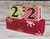 Christmas Advent Calendar, Christmas Count Down Wooden Blocks Maroon Star Design