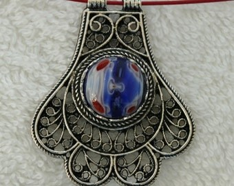 Antique Silver Filigree Pendant with Red White and Blue Cabochon 1668
