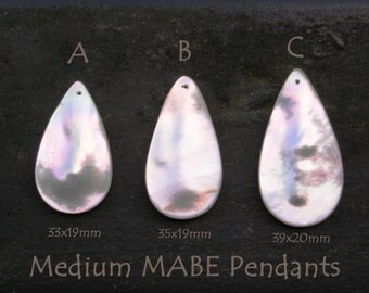 Medium White Mabe Pendants 33-39mm Cultured Mother of Pearl