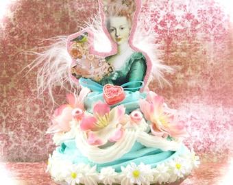 Marie Antoinette Fake Cupcake Artwork Turquoise 12 Legs Designer Collection Marie Antoinette Birthday Decor or Cake Topper