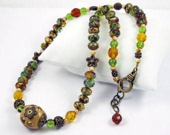 Green Topaz Picasso and Vintage Gold beaded Necklace