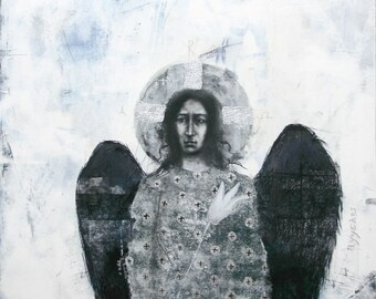 Archangel Gabriel - drawing with silver leaf