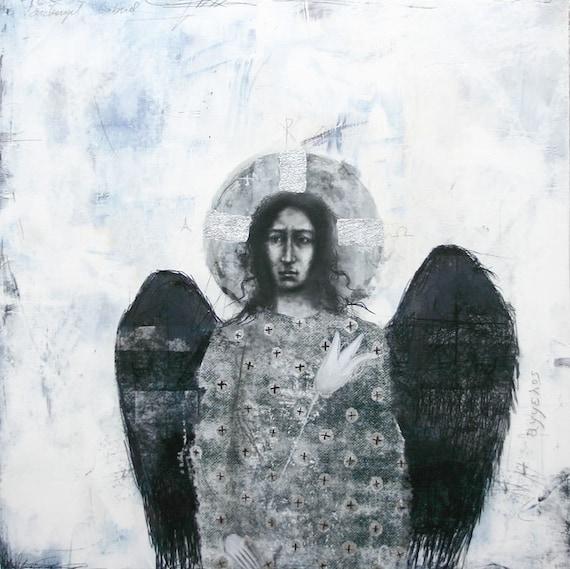 Archangel Gabriel - drawing with silver leaf
