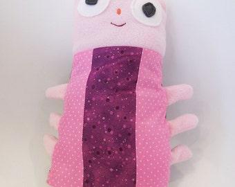 stuffed fabric cuddle bug, multi color, girl colors