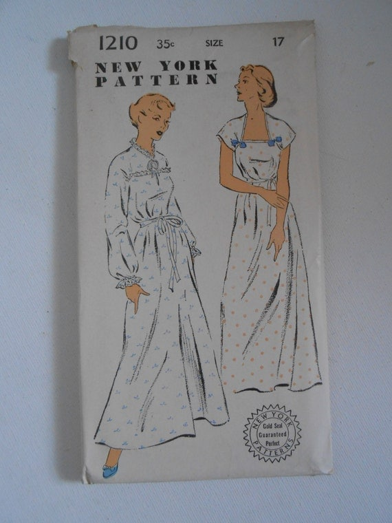 Vintage 50s Nightgown Pattern New York 1210 Size 17 Bust 35 UNCUT