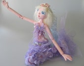 LILAC, On Sale,  Art Doll Mermaid, ball jointed puppet style doll, Ooak, Handmade in the USA
