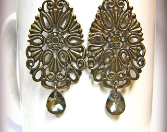 Large Antique Brass Filigree Teardrops with Bronze Shade Swarovski Crystals