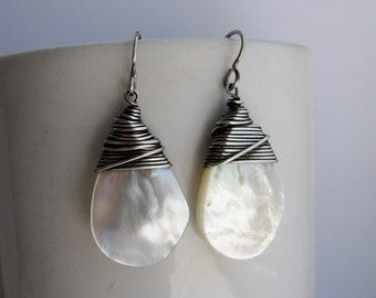 Wire Wrapped White Mother of Pearl Teardrops