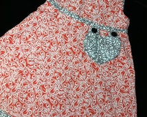 Reversible red paisley dress sizes 1-4 years
