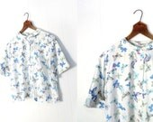Vintage 50s Blouse / BUTTERFLY Blouse / 1950s Blouse / Cotton Blouse / L XL