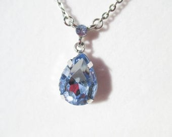 "16-18"" adjustable Light Blue faux Sapphire Drop Necklace with mini Stone accents"