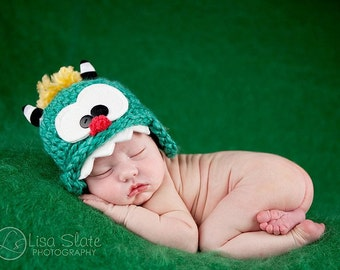 Baby Monster Hat .. Newborn monster .. newborn photo prop .. monster hat .. silly baby hat .. baby monster hat .. multiple sizes