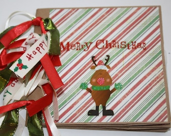 SALE! Christmas Paper Bag Scrapbook Mini Album, Premade Pages, Rudolph Reindeer Paperbag, Red Green White