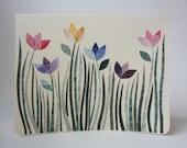 Windy Spring Day Note Card, Spring Summer Flower Garden, OOAK, Unique, Original Hand Cut Vintage Wallpaper, Pink Purple Yellow Blue Tulips