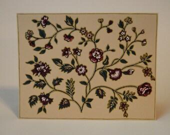 Red and Gold Wild Flower Garden Note Card, OOAK, Hand Cut Vintage Wallpaper, Floral Note Card, Applique, Floral Pattern, Unique, Original