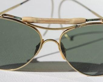 Vintage Aviators with Wraparound Arms Green Grey Lenses