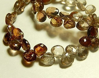 Rare Zircon Gemstone, Faceted Heart Briolettes,  5-6mm.   Semi Precious Gemstone. Packet of 4. (dzcn). SALE - WAS.. 9.80
