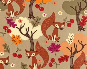 """Woodland Fox Brown and Orange Cherry Print Fall Fabric almost 1/2 Yard - approx 16"""""""