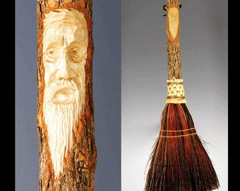 Carved Fireplace Broom in your choice of Natural, Black, Rust or Mixed Broomcorn - Hearth Broom with Tree Spirit Old Man's Face Carving