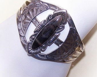 Vintage, Native American, STERLING SILVER, Sterling Cuff, Silver Cuff, Agate, Agate Cuff, Agate Bracelet, Silver Agate, Vintage Bracelet