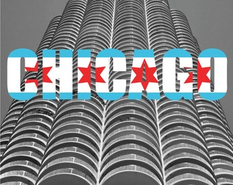 Marina Tower, Chicago with Chicago Text and Flag Original Fine Art Photography Architecture Gift Home Decor