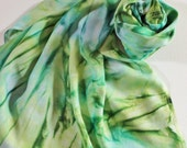 Infinity Scarf - Hand Painted Circle Scarves Kelly Green Garden Lime Olive Teal Turquoise Blue Periwinkle
