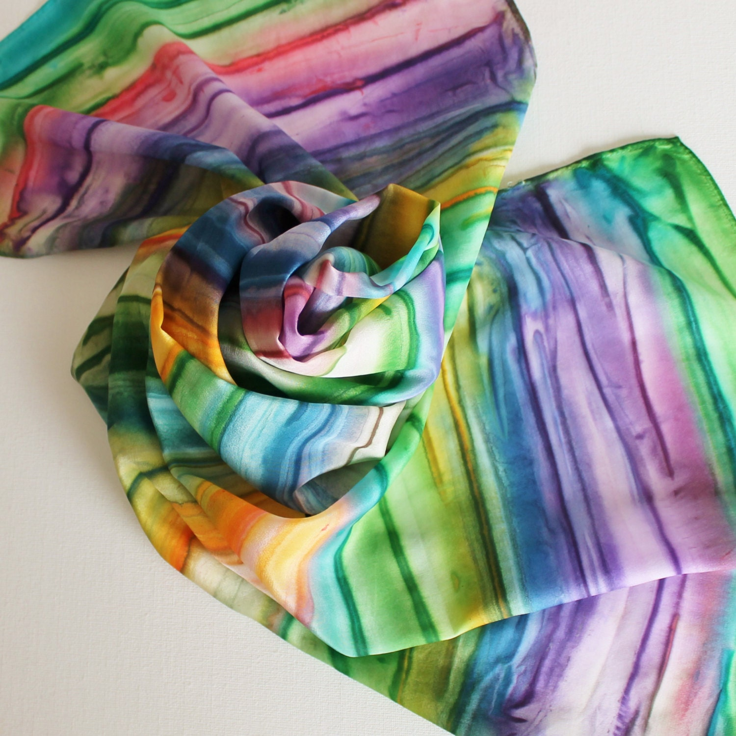 painted silk scarf handpainted scarves rainbow bright