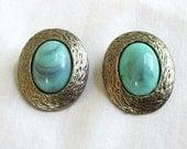 Vintage Faux Turquoise Earrings