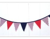 Americana Banner, Nautical Banner, Americana Bunting, Red White Blue, Chevron, Stripes, American Fabric Banner, Home Decor, Pennant Flags