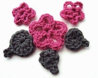 CROCHET PATTERN num 80: 5 petal flower and leaves See more patterns in my shop