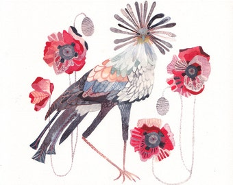Secretary Bird and Red Poppies -Archival Print