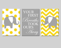 Twins Nursery Art Trio - Set of Three 11x17 Prints - Chevron Polka Dot Elephants - Your First Breaths Took Ours Away - Choose Your Colors