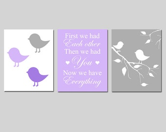 Purple Gray Baby Bird Nursery Trio - Set of Three 11x14 Prints - First We Had Each Other... Now We Have Everything - CHOOSE YOUR COLORS
