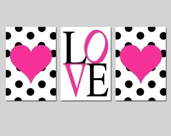 Girl Nursery Art Trio - Set of Three 11x17 Prints - Polka Dot Hearts - LOVE Typography - Kids Wall Art - Choose Your Colors