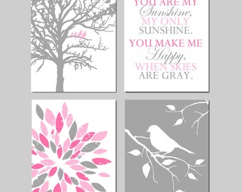 Nursery Decor Girl Nursery Wall Art Set of 4 Prints - Birds in a Tree, You Are My Sunshine, Abstract Floral, Bird on Branch - Pink and Gray