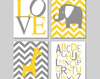 Yellow Gray Grey Chevron Nursery Art Quad - Love, Elephant, Giraffe, Modern Alphabet - Set of Four 8x10 Prints - CHOOSE YOUR COLORS