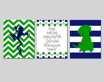 Baby Boy Nursery Art Trio - Chevron Frog, Stripe Puppy Dog, Frogs Snails and Puppy Dog Tails Quote - Set of Three 11x14 Prints