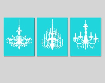 Modern Chandelier Trio - Set of Three Coordinating Chandelier 8x10 Prints - Wall Decor - CHOOSE YOUR COLORS - Shown in Aqua and White