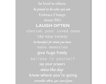 Inspiration - 8x10 Print - Inspirational Quotes and Sayings - CHOOSE YOUR COLORS