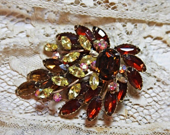 Large Vintage Brooch with Amber Red Yellow Rhinestones