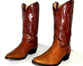 Brown western cowboy boots - brown with faux lizard foot --  size 9.5 M or cowgirl size 11