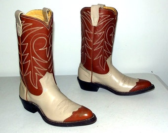 Texas Imperial Cowboy boots -wingtips - caramel tan and cream color -vintage fashion