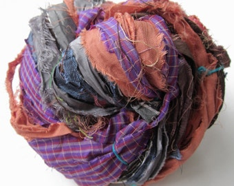 Sari Silk Ribbon, Reclaimed, Recycled, Fair Trade, Skein no. 304, 65 yds.