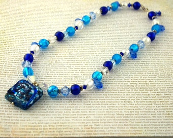 Venetian Glass Necklace - Sterling Silver
