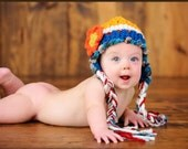 Baby Hat, Cute Hat, Crochet Baby Hats, Little Girl Hats,  Earflap Hat with Flower / Ready to ship in 0-3 months size