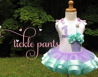 Lavender and aqua blue Fluffcake Birthday Tutu Outfit- Includes cupcake top, ribbon tutu - Can be made to match your party