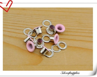 4mm baby pink Eyelet  grommet  Grommets eyelets 100 sets AC72F