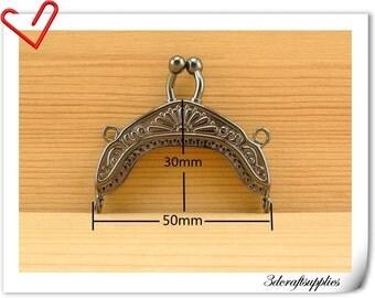 2 inch fancy diecasting metal purse frame gunmetal   B6
